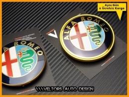 Alfa Romeo Ön Kaput Arka Bagaj Logo Amblem Seti