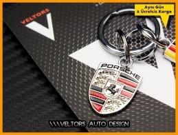 Porsche Logo Amblem 3D Özel Krom Anahtarlık