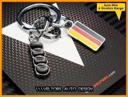 Audi Logo Amblem Özel Krom 3d Anahtarlık