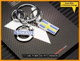 Volvo Logo Amblem Özel Krom 3D Anahtarlık