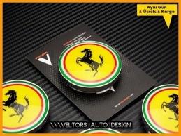 Ferrari Logo Amblem Jant Göbnt Göbek Kapak Seti
